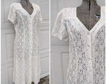 Vintage 90's White Lace Button-Up Midi Dress, Sheer, M/L
