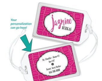 Personalized Bag Tag for Girls, Pink Luggage Tag, School Bag Tag for Girl, Girls Bag Tag, School Backpack Tag, Kids Backpack Tags