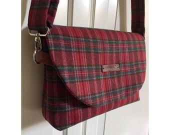Mini Messenger Bag - Plaid Messenger Bag - Red Bag - Plaid Bag - Red Messenger Bag - Wool Bag - Woman Bag - Gift for mom
