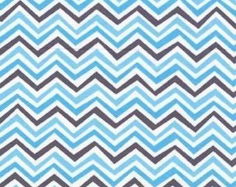 Modern chevron quilting cotton fabric by the yard. Blue, gray 100% cotton by fabric designer Paula Prass. Need more than one yard? Just ask.