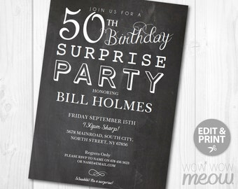 50th Surprise Birthday Invitation Chalk Board FIFTY Party Invitation Instant DOWNLOAD Mans Male Personalize Editable & Printable EDIT @ Home
