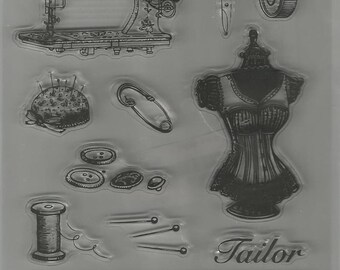 Vintage Sewing/Taylor Acrylic Stamp Set