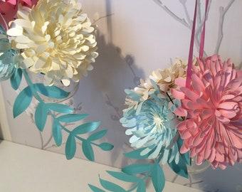 Hübsche Pastellfarbene Blume Papier Hängende Dekoration