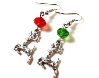 Reindeer Charm Earrings, Silver Reindeer Earrings, Deer Earrings, Red and Green Bead Earrings, Women's Holiday Jewelry, Christmas Earrings