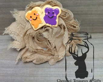 Beige Shabby Flower Hair Clip with Peanut Butter and Jelly Embellishment