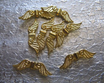 Angel Wings small 24 wings per lot Gold Plated Jewelry Finding Craft Beads 23mm