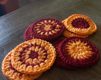 Set of 8 crochet coasters