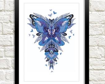 Blue butterflies art print - Butterfly artist - Butterflies illustration - Butterfly illustrator -hand drawn - A3 size
