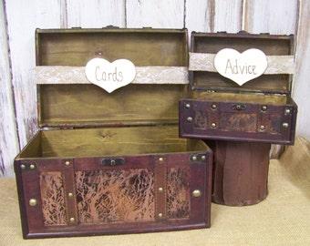 Wedding Card Box, Rustic Wedding Decor,  Advice Box, Shabby Chic Wedding, Brown Card Box, Wooden Card Box, Rustic Weddding
