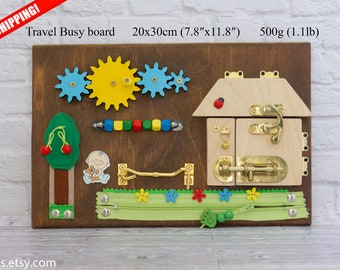 Busy board for toddlers Handmade eco toy for toddler activities Toy for autism Wood gifts toddler Eco baby toy
