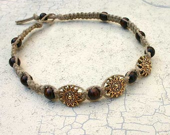 Surfer Thick Hemp Necklace With Sun Pewter Wood Beads Choker