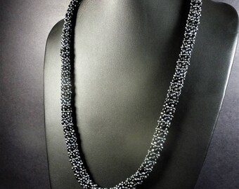 Stunning Matte & Lustrous Black Weaved Glass  Necklace