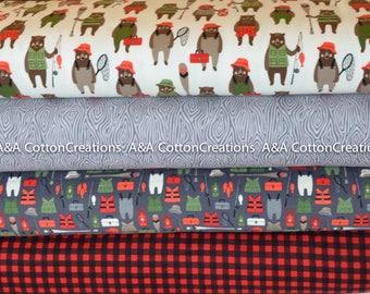 Brawny Bear Flannel Fabric, Flannel Bundle of 4, Fishing fabric, Red Black Plaid, Boy Fabric, Camping Fabric, Robert Kaufman Fabrics