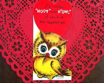 Vintage Valentine Owl Card 1960s