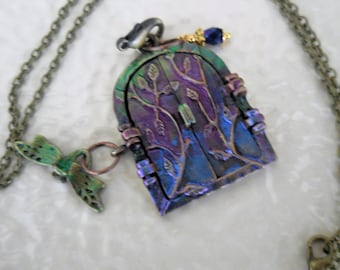 Fairy Door Necklace #37 in a series,  Woodland Door,  Painted and Patina Jewelry