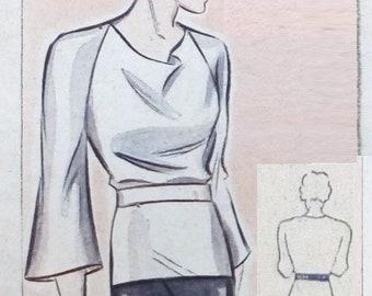 "Vintage 1935 blouse pattern for bust size 102cm/40"""