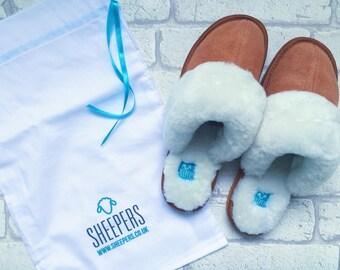 Chestnut sheepskin slippers