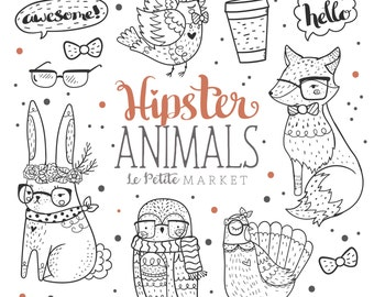 Woodland Hipster Animal Clipart, Hipster Clip Art, Hand Drawn Clip Art,Hipster Fox Owl Bunny Rabbit Digital Stamps, Commercial Use Clipart