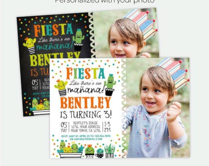 Succulent Birthday Invitation with photo, Fiesta Birthday Party, Cactus Birthday Invitation, Personalized Digital Invite, 2 Options