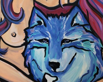 """Feeding the wolf within~ Original acrylic painting on 22"""" x 28"""" canvas"""