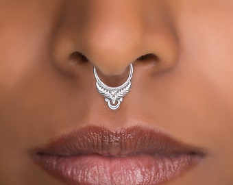 Sterling SIlver Septum Ring For Pierced Nose . Indian Septum Ring. Tribal Septum Ring. Septum Piercing. Fake Septum. Tribal Septum Jewellery