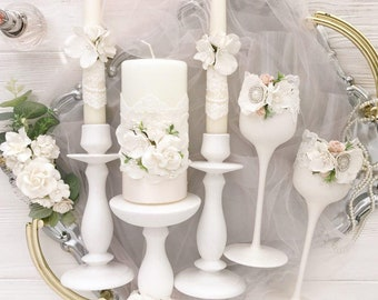 Unity candle set for wedding with stand Unity candle set ivory Unity candle set and stand Lace wedding decor flower wedding centerpiece 3pcs