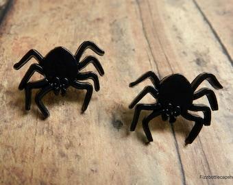 Black Spider Post Earrings With Nickel Free Backs