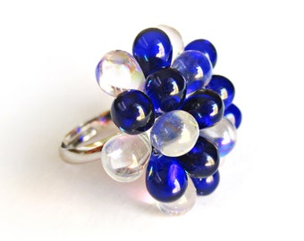 Saphire & White Berry Ring, Glass Cluster Ring, Cobalt Blue Beaded Statement Ring, Blue sapphire Ring, Funky Rings, Gift for Bridesmaids