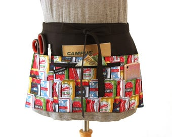 waitress apron - half apron with pockets - server apron - waist apron with zipper pocket - utility apron - fun beer can apron - vendor apron