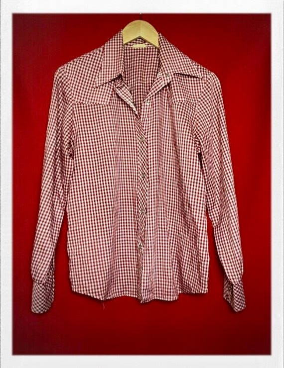 """Vintage Women's Classic Western Gingham Blouse 21"""" width 26"""" length"""