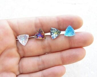 Triangle Stud Earrings Geometric Jewelry Vintage Glass Cabochon Earrings
