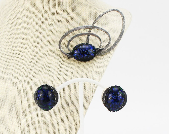 Blue and Silver Atomic Brooch and Earrings - Vintage 1960s Jewelry Set