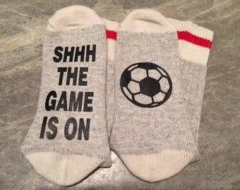 Shhh The Game Is On .... (Soccer Ball Silhouette) (Socks)