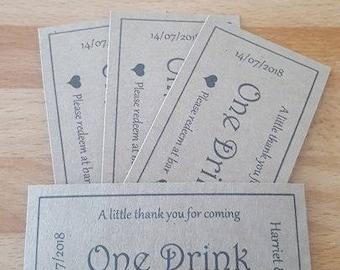 Personalised Wedding drink voucher