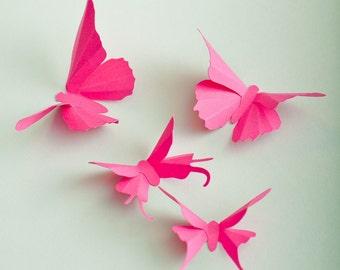 3D Wall Butterflies: Fuchsia Pink Butterfly Silhouettes for Girls Room, Nursery, Home Decor