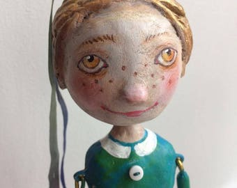 Girl on the ball. Art Doll by Tatiana Gurina. Collection doll. Paper mache sculpture.