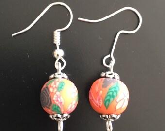 Handpainted Clay Bead earrings
