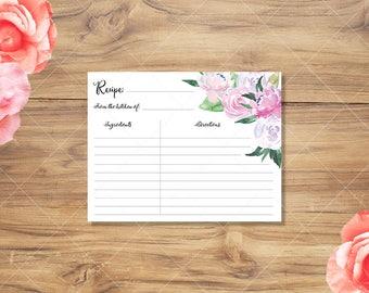 Recipe Card | Floral Watercolor Printable Recipe Card | Instant Download