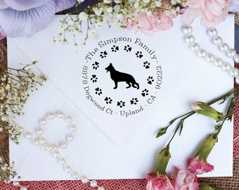German Shepherd Dog Stamp, German Shepherd Lover Return Address Stamp, Cute Stamp for German Shepherd Lover, Dog Stamp --10350-PI53-000