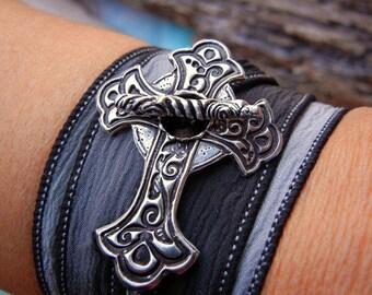 Sideways Cross Jewelry, Sideways STERLING Silver Cross Silk Wrap Bracelet, Silver Cross Jewelry, Sideways Cross, Inverted Cross Jewelry