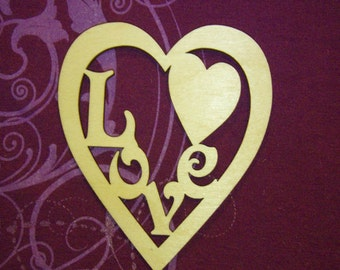 Heart With Love Cute Wood Cut Out Unfinished Wooden Shapes Valentine