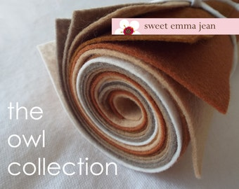 9x12 Wool Felt Sheets - The Owl Collection - 8 sheets of wool blend felt
