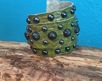 Lime Green Leather Wrap Cuff with Gunmetal Studs and Purple Spots