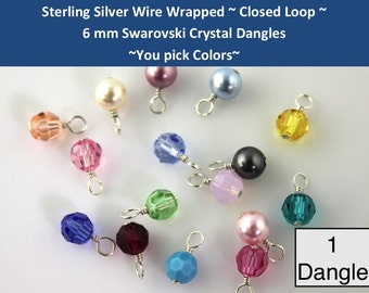 One (1) CLOSED LOOP sterling silver wire wrapped 6mm Swarovski crystal or pearl round dangles charms drops- for bracelets necklaces earrings