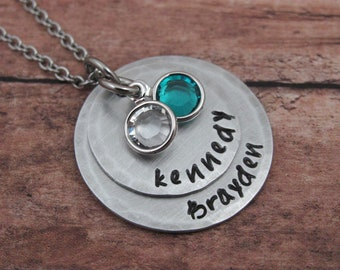 Mom Necklace Personalized Mom of 2 Necklace Hand Stamped Necklace Personalized Jewelry Grandma Necklace Mom Jewelry Gift For Mom