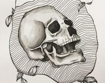 Pen and Ink skull illustration drawing