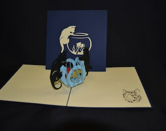 Cat 3-d pop up card