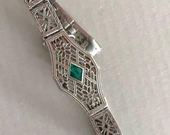 Beautiful Sterling silver filagree bracelet with green stones