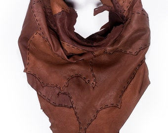 Dark Brown Deerskin Raw Edge Scarf