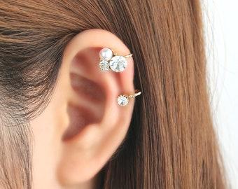 Ear cuff no piercing, non pierced, pearl ear cuff, earrings, ear jacket, CZ ear cuff, no pierce, CZ ear climber, earcuffs, silver, gold